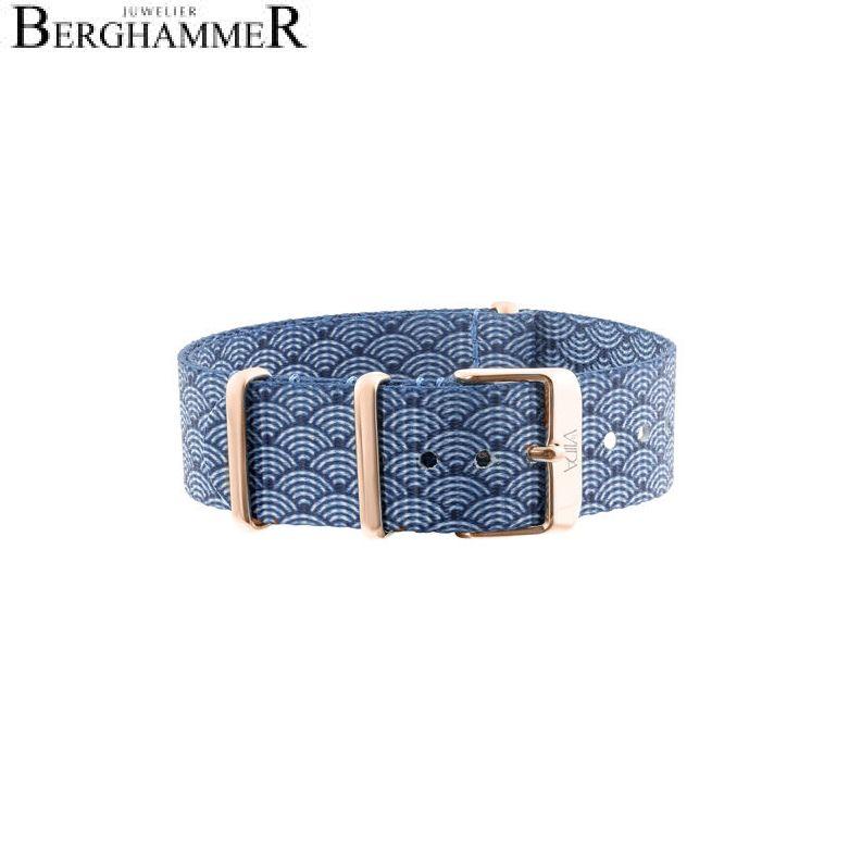LaViida Uhrband Ibiza Roségold Blau-weiß SIB1709R 40600019