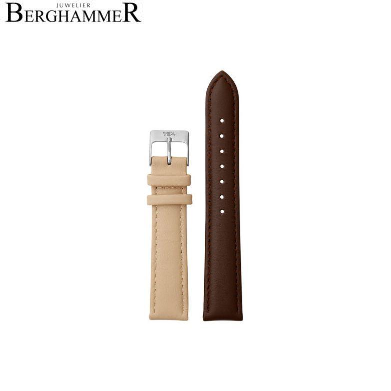 LaViida Uhrband Vienna Silber Braun/Beige SVI2023S 40900041