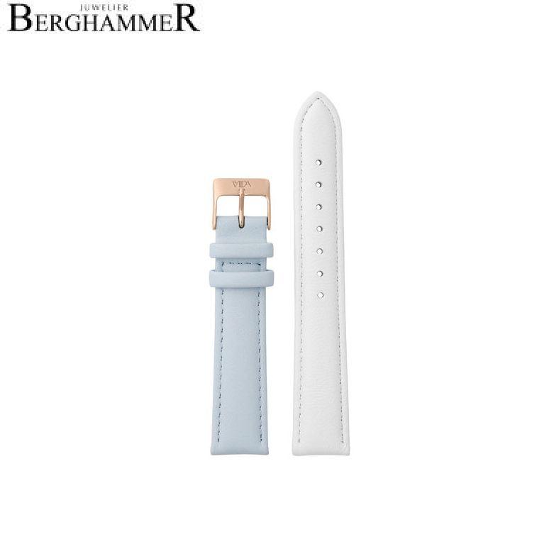 LaViida Uhrband Vienna Roségold Weiß/Hellblau SVI2021R 40900053