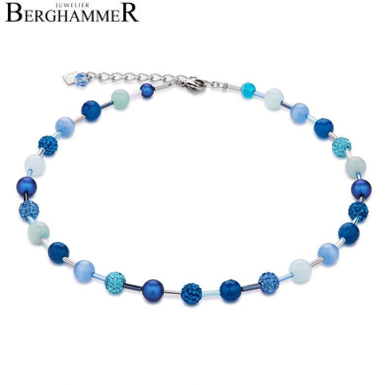 Halskette Kristall Pavé & Achat & Onyx blau-türkis