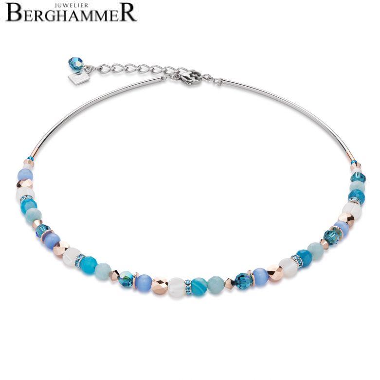 Halskette Perlmutt & Swarovski® Kristalle & Amazonit & Streifenachat türkis-blau
