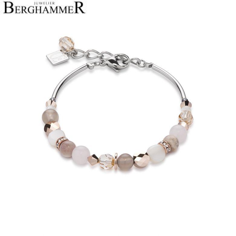 Armband Perlmutt & Swarovski® Kristalle & Rosenquarz & Achat beige-rosa