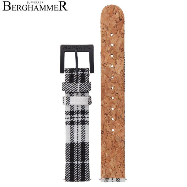 Mondaine Textil Armband mit Korkfütterung, 16mm, FTM.3116.20B.K