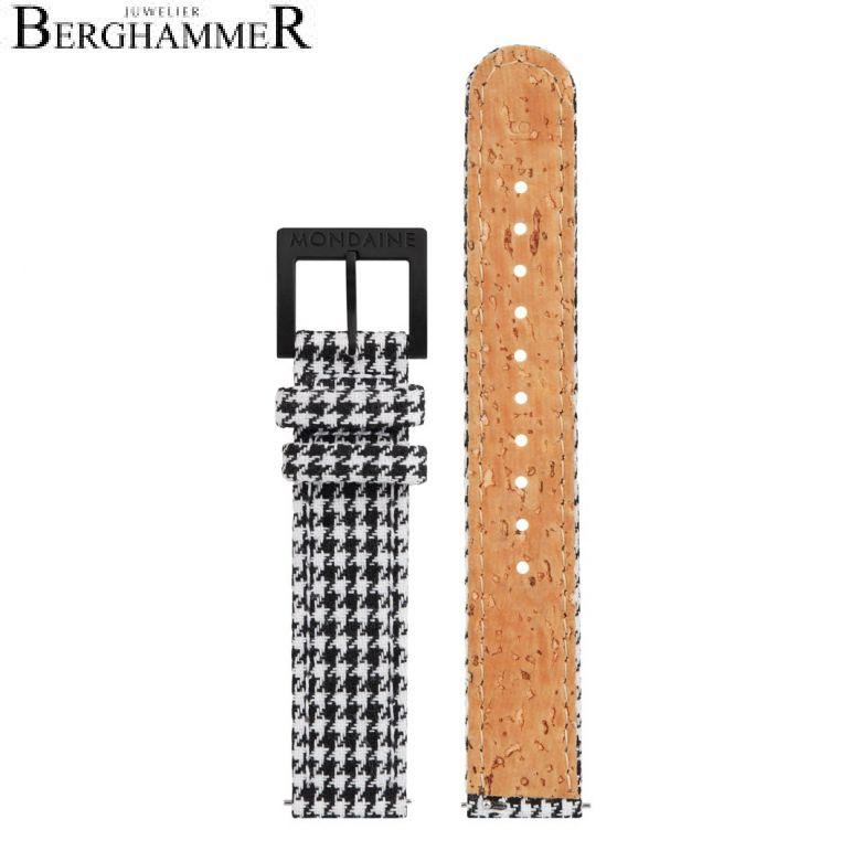 Mondaine Textil Armband mit Korkfütterung, 16mm, FTM.3116.10B.K