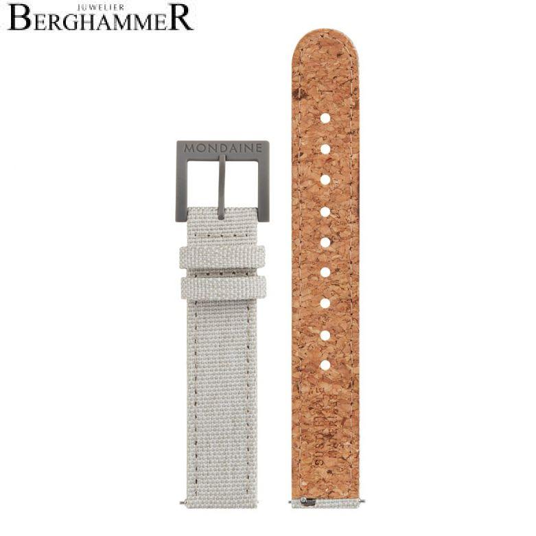 Mondaine Textil Armband mit Korkfütterung, 16mm, FTM.3116.80H.1.K
