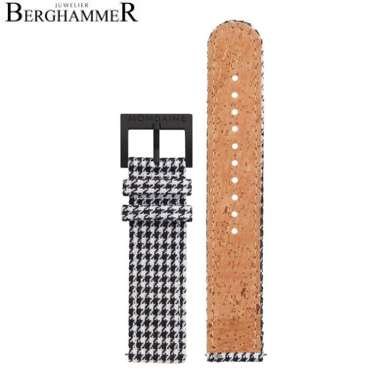 Mondaine Textil Armband mit Korkfütterung, 20mm, FTM.3120.10B.K